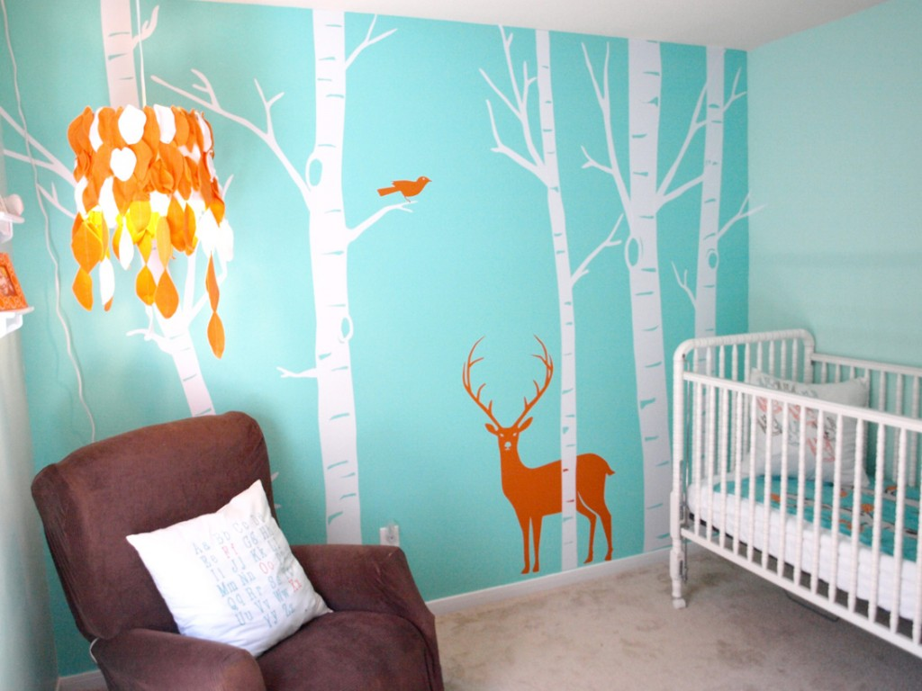 Appealing-Baby-Room-Wall-Decor-with-White-Fixed-Side-Cribs-and-Trees-Wall-Art-for-Nursery-Wall-Decor-and-Baby-Room-Wall-Art